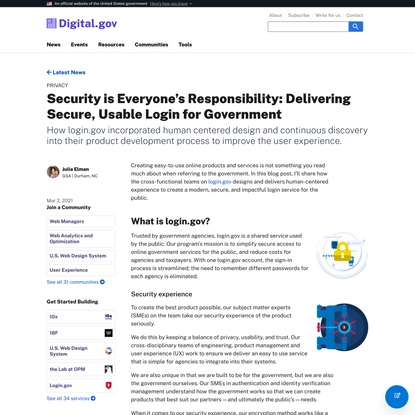 Security is Everyone's Responsibility: Delivering Secure, Usable Login for Government