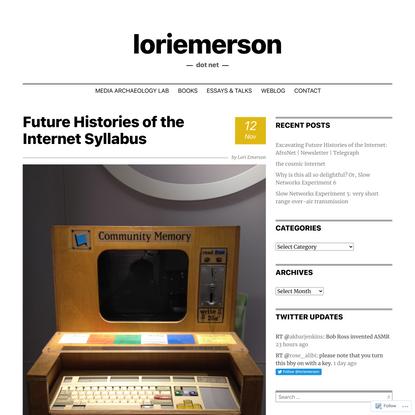 Future Histories of the Internet Syllabus