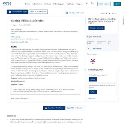 Taming Wildcat Stablecoins by Gary B. Gorton, Jeffery Zhang :: SSRN