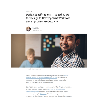 Design Specifications — Speeding Up the Design to Development Workflow and Improving Productivity