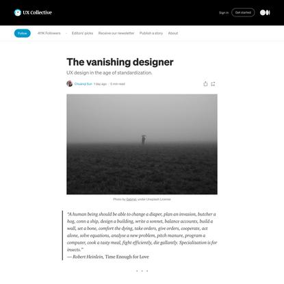 The vanishing designer