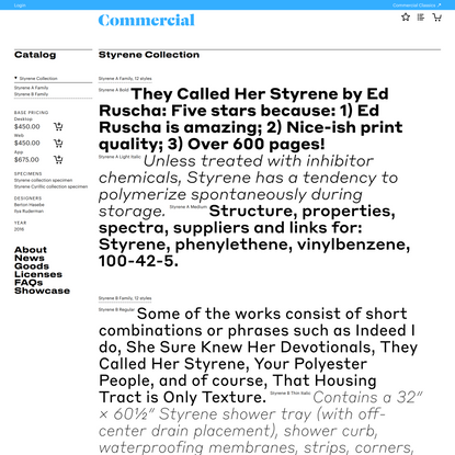 Commercial Type » Catalog » Styrene Collection