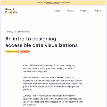 An intro to designing accessible data visualizations by Sarah L. Fossheim