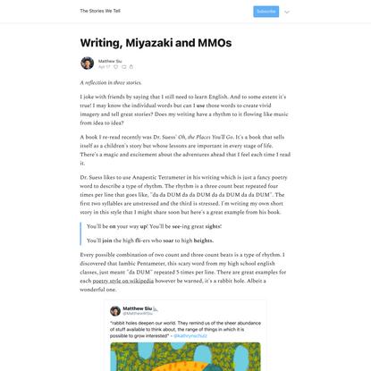 Writing, Miyazaki and MMOs