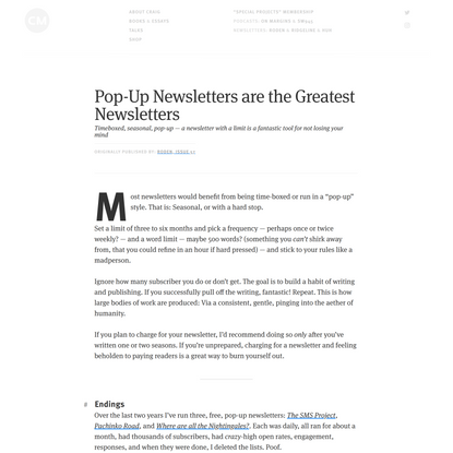 Pop-Up Newsletters are the Greatest Newsletters — by Craig Mod