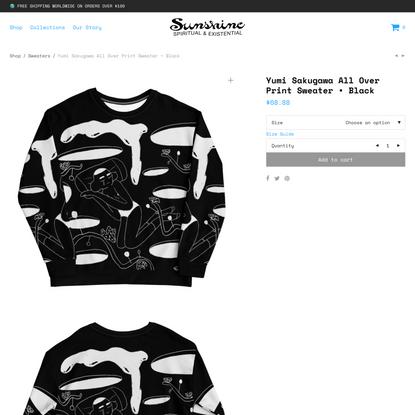 Yumi Sakugawa All Over Print Sweater •Black - Sunshine Shop