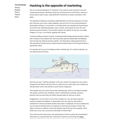 Hacking is the opposite of marketing - macwright.com