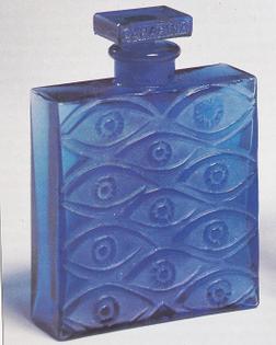 René Lalique's 11-eyed blue-glass flacon for Canarina, 1928.