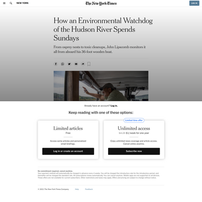 How an Environmental Watchdog of the Hudson River Spends Sundays - The New York Times