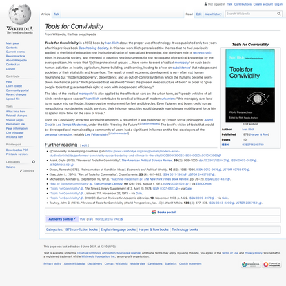 Tools for Conviviality - Wikipedia