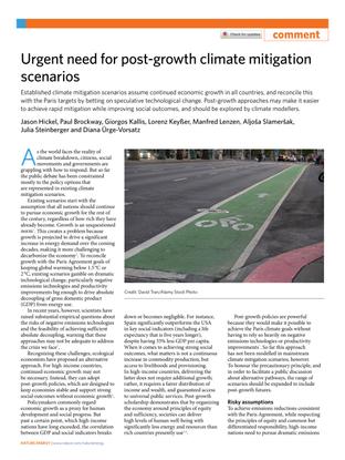Urgent need for post-growth climate mitigation scenarios -    Jason Hickel, Paul Brockway, Giorgos Kallis, Lorenz Keyßer, Manfred Lenzen, Aljoša Slameršak, Julia Steinberger & Diana Ürge-Vorsatz