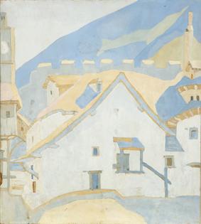 Spyros Papaloukas (Greek, 1892-1957), The Yard of the Megistis Lavras Monastery, Mount Athos, 1924. Oil on card, 47 x 41.5 cm.