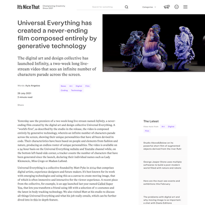 Universal Everything has created a never-ending film composed entirely by generative technology