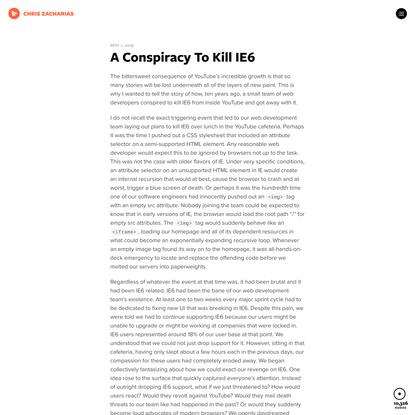 A Conspiracy To Kill IE6 • Chris Zacharias