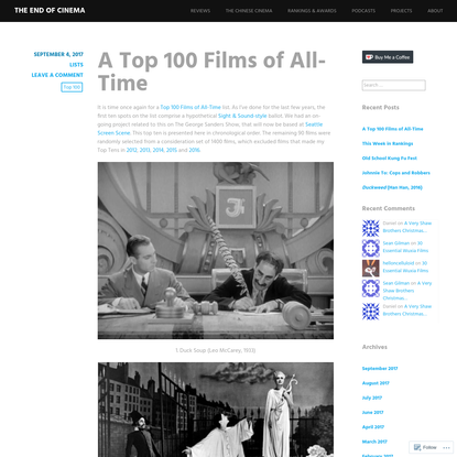 A Top 100 Films of All-Time