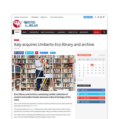 Italy acquires Umberto Eco library and archive