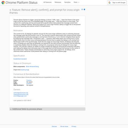 Remove alert(), confirm(), and prompt for cross origin iframes - Chrome Platform Status