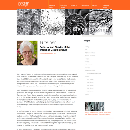 Terry Irwin   Carnegie Mellon School of Design