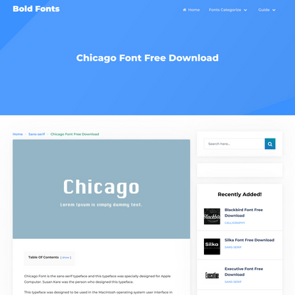 Chicago Font Free Download