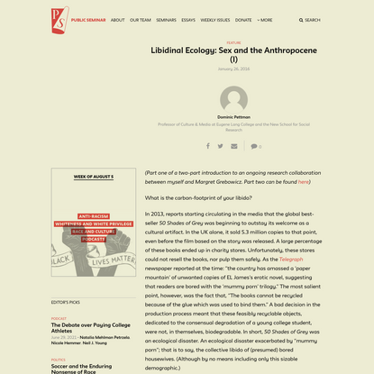 Libidinal Ecology: Sex and the Anthropocene (I) - Public Seminar