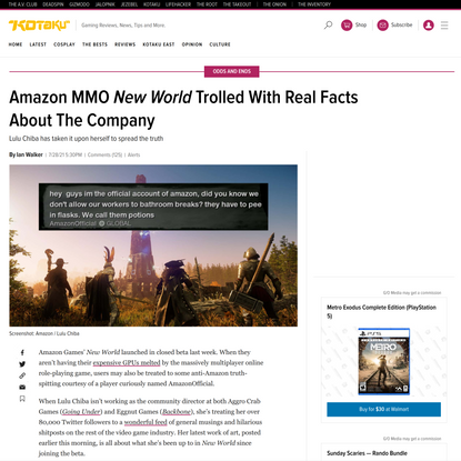 Amazon MMO New World Trolled With Real Facts About The Company