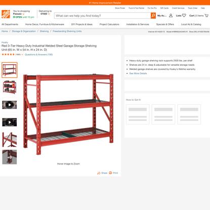 Husky Red 3-Tier Heavy Duty Industrial Welded Steel Garage Storage Shelving Unit (65 in. W x 54 in. H x 24 in. D)-HBR652454W...