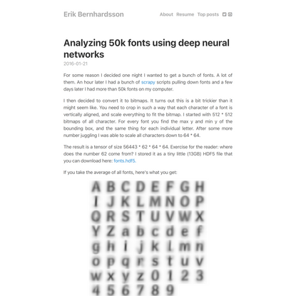 Analyzing 50k fonts using deep neural networks
