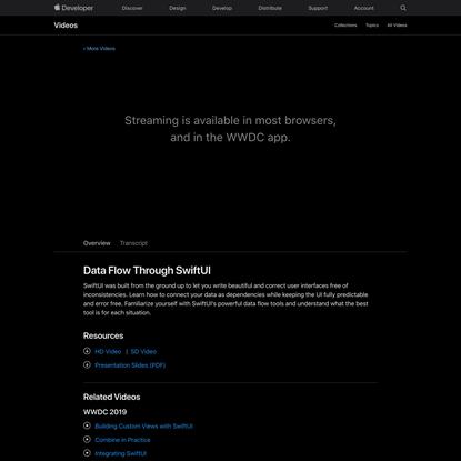 Data Flow Through SwiftUI - WWDC19 - Videos - Apple Developer