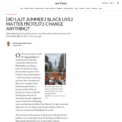 Did Last Summer's Black Lives Matter Protests Change Anything? | The New Yorker
