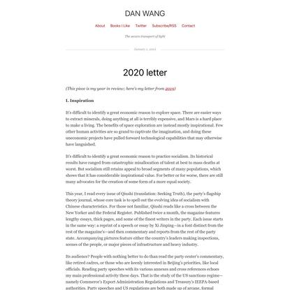 2020 letter | Dan Wang