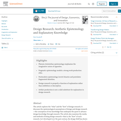 Design Research: Aesthetic Epistemology and Explanatory Knowledge - ScienceDirect