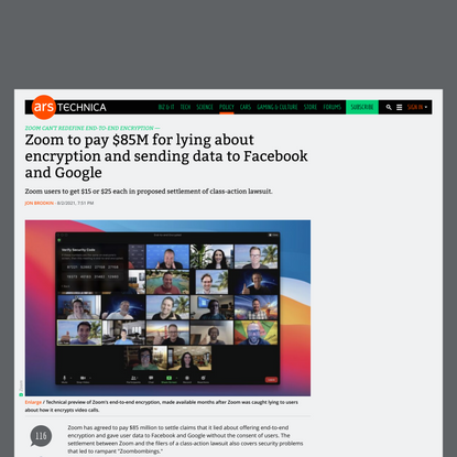 Zoom to pay $85M for lying about encryption and sending data to Facebook and Google   Ars Technica