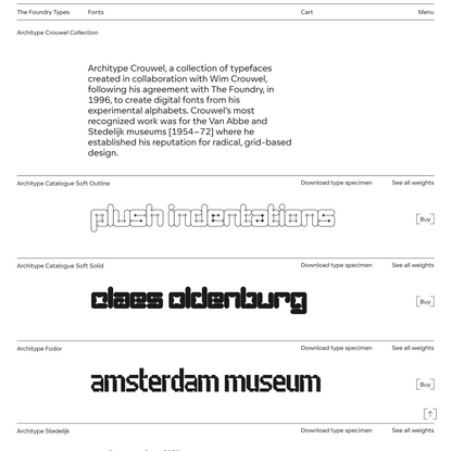 Architype Crouwel Collection - The Foundry Types