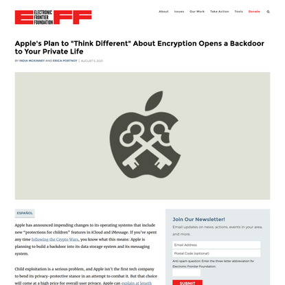 """Apple's Plan to """"Think Different"""" About Encryption Opens a Backdoor to Your Private Life 