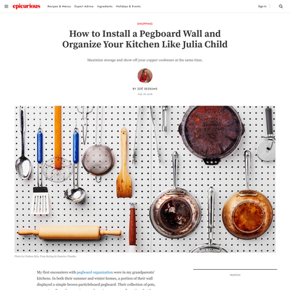How to Design a Pegboard Wall and Organize Your Kitchen Like Julia Child
