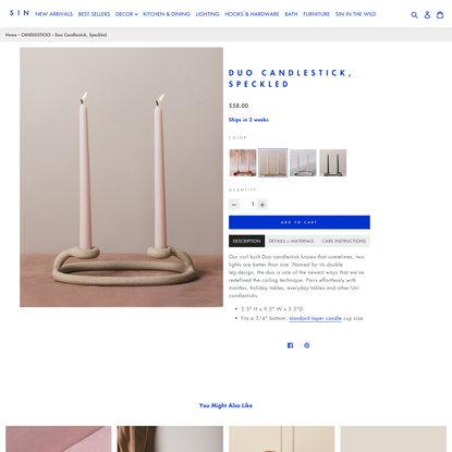 Duo Candlestick, Speckled