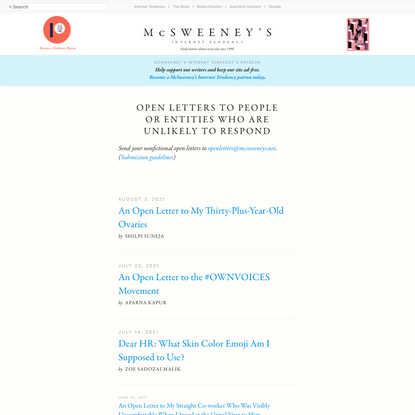 Open Letters to People or Entities Who Are Unlikely to Respond - McSweeney's Internet Tendency