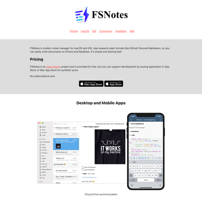 FSNotes App – Modern notes manager for macOS and iOS