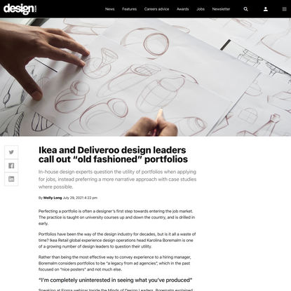 """Ikea and Deliveroo design leaders call out """"old fashioned"""" portfolios 