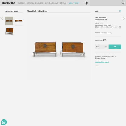 413: JOHN MASHERONI, Custom trunks, pair < Mass Modern Day Two, 13 August 2021 < Auctions | Wright: Auctions of Art and Design