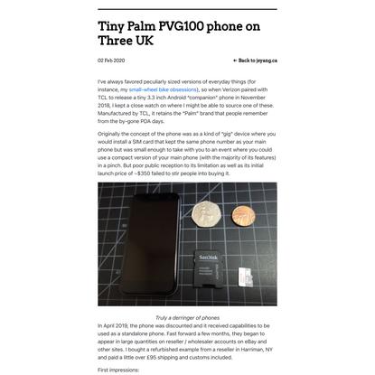 Tiny Palm PVG100 phone on Three UK - jsyang.ca