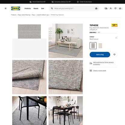 TIPHEDE Rug, flatwoven, black/natural, 155x220 cm - IKEA