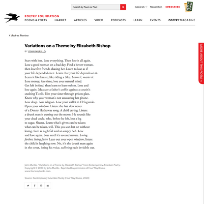 Variations on a Theme by Elizabeth Bishop by John… | Poetry Foundation