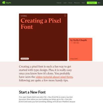 Creating a Pixel Font   Glyphs