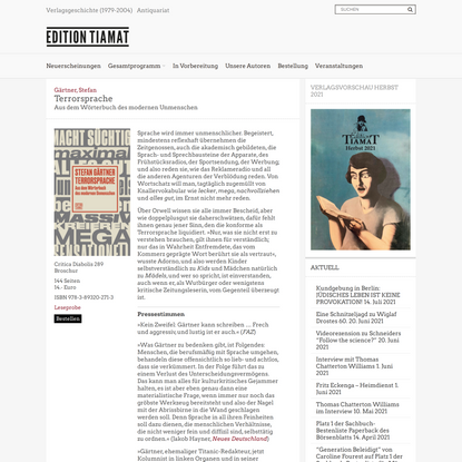 Terrorsprache – Edition Tiamat