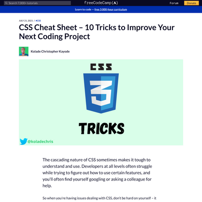 CSS Cheat Sheet – 10 Tricks to Improve Your Next Coding Project
