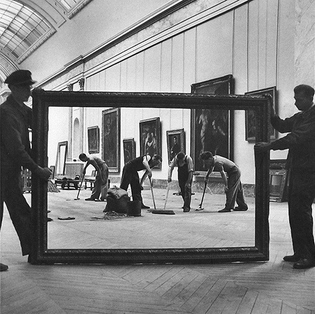 Pierre Jahan, Workers at The Louvre, Paris, 1947