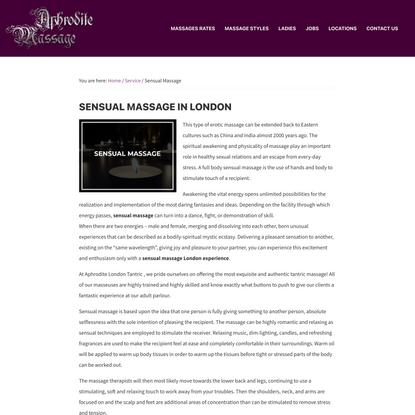 Sensual Massage London - Aphrodite London Tantric