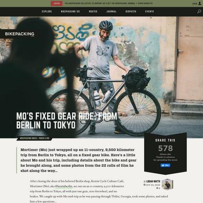 Mo's Fixed Gear Bikepacking Trip from Berlin-Tokyo - BIKEPACKING.com
