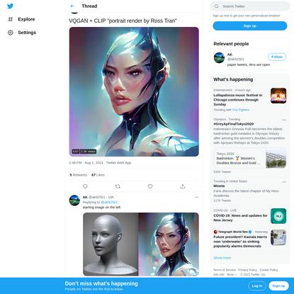 """AK on Twitter: """"VQGAN + CLIP """"portrait render by Ross Tran"""" pic.twitter.com/DmAa9N29BU / Twitter"""""""